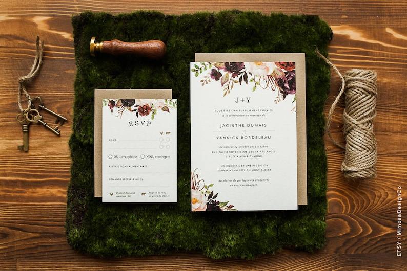 blush marsala purple flowers Invitation printable wedding Invitation /& RSVP cards
