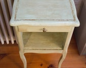 Antique green patina old nightstand. Mint-vintage french painted bedside table Louis XV shabby chic rustic charm