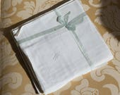 Very rare set of 6 handkerchiefs former nine 1920 s Samaritaine MJ monograms