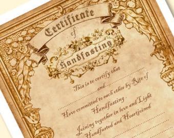 Printable Handfasting Certificate 01 Wedding Marriage Etsy