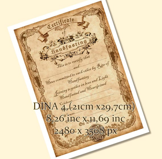 Printable Handfasting Certificate 01 Wedding Marriage Parchment Magic Wicca Pagan Rite Wiccan Celtic Vintage Download Jpg Pdf