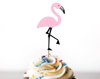 Pink Flamingo Cupcake Toppers - Set of 8 - Let's Flamingle Party - Birthday Cupcake Toppers or Decoration