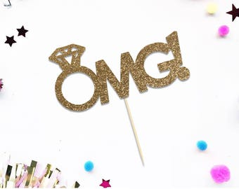 OMG Engagement Ring Topper for Engagement Shower, Bridal party, Bachelorette Party, Wedding - Gold Glitter Cupcake and Cake Topper