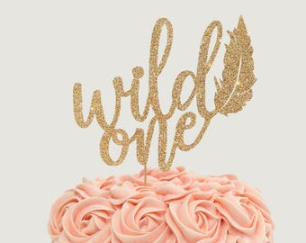 Wild One Cake Topper for First Birthday Party - Smash Cake - Glitter Cupcake and Cake Topper - 1st Birthday, Trendy Topper, Wild and One