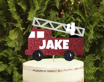 Outstanding Fire Truck Cake Etsy Birthday Cards Printable Benkemecafe Filternl