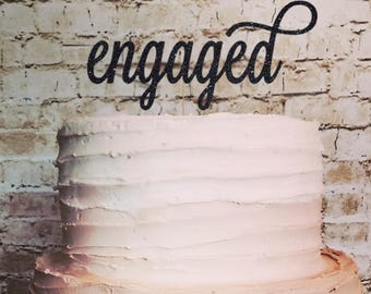 Engaged Topper for Engagement Shower, Bridal party, Bachelorette Party, Wedding - Gold Glitter Cupcake and Cake Topper
