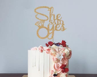 She Said Yes Topper for Engagement Shower, Bridal party, Bachelorette Party, Wedding - Engagement Ring Gold Glitter Cupcake and Cake Topper