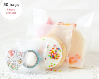 50 Matte Translucent Simple Self Adhesive Resealable Plastic Plain Blank Candy, Jewelry, Soap, Candy Packaging Gift Favor Cookie Treat Bags