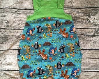 """Summer Jumpsuit / Dungarees """"Little Mole Garden Fun Blue"""" Size 62-104"""