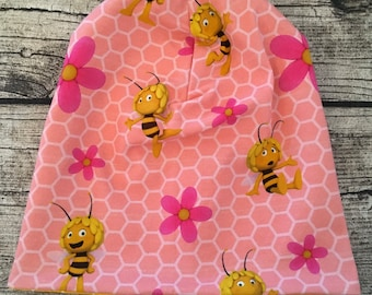 "Reversible Beanie Hat ""Bee Maja Pink"""