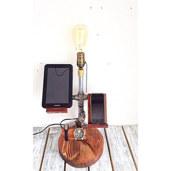 Unique Table Lamp Steampunk Lamp Desk Accessories Bedside Lamps Steampunk Table Lamp Phone Holder Docking Station Edison Lamp