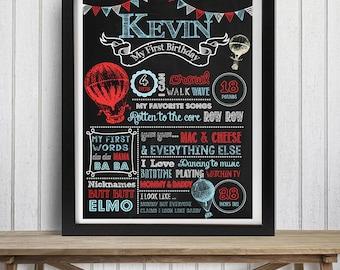 SALE Hot Air Balloon Chalkboard, Vintage Hot Air Balloon Chalkboard,  1st birthday, Up, up and away Chalkboard, Boy Birthday- Any age