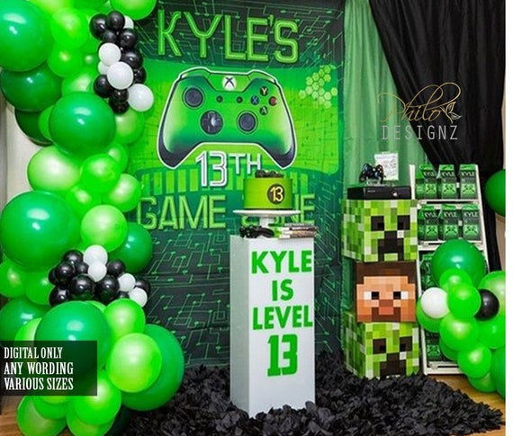 Gaming Birthday Party Backdrop Video Game Banner Game/Backdrop Video Game Theme Party Photography Background for Birthday Party Decorations
