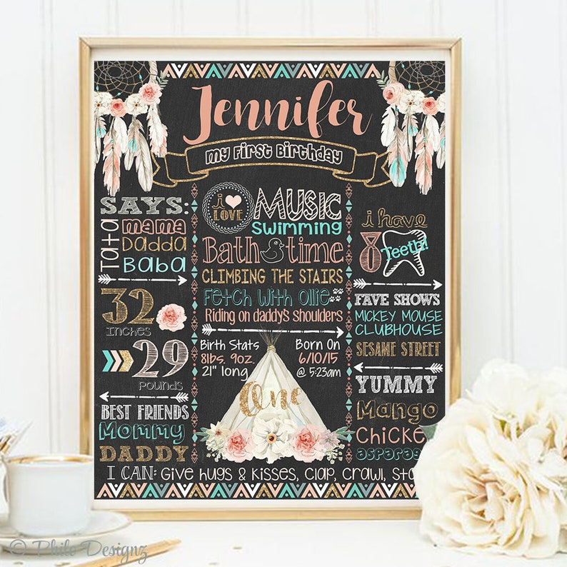 Pink Gold Teepee Sign Boho chalkboard SALE Tribal First Birthday Poster Pink Teal Boho Teepee Party Peach gold Girl Tribal Birthday