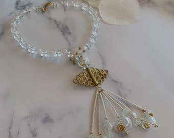 Angel - Clear glass bead necklace, Elegant necklace, Statement necklace, Contemporary jewellery, Bubble necklace