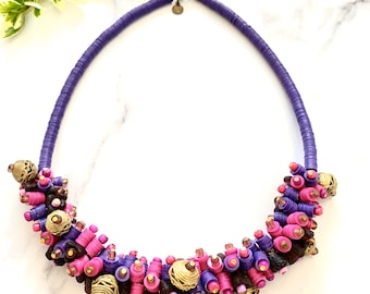 Candy - beaded necklace, cluster necklace, Afrochic, bold necklace, purple beaded cluster necklace