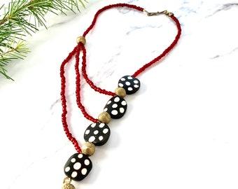 Bridges - Asymmetric necklace, Batik bone bead necklace, Brass bead necklace, Tribal necklace, Ethnic, Lost wax brass bead necklace