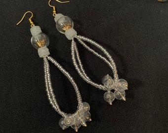 Cosmic - beaded chandelier earrings, glass seed bead earrings, dangle bubble earrings, cluster beaded earrings