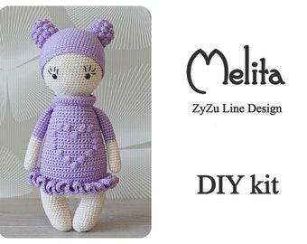 ZyZu doll Melita crochet DIY kit - Amigurumi doll crochet kit set - ZyZuLineDesign pattern - DIY Craft - Gift for girl