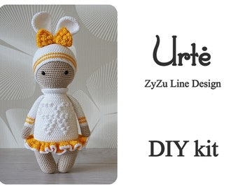 ZyZu bunny Urte crochet DIY kit - Amigurumi crochet kit set - rabbit pattern - ZyZuLineDesign pattern - DIY Craft - Gift for girl