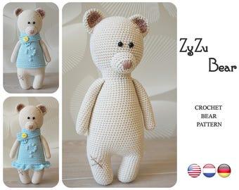 Crochet Bear pattern by ZyZu Line Design - Teddy Bear pattern - Amigurumi bear with bobble stitch dress - Crochet DIY Craft Projects