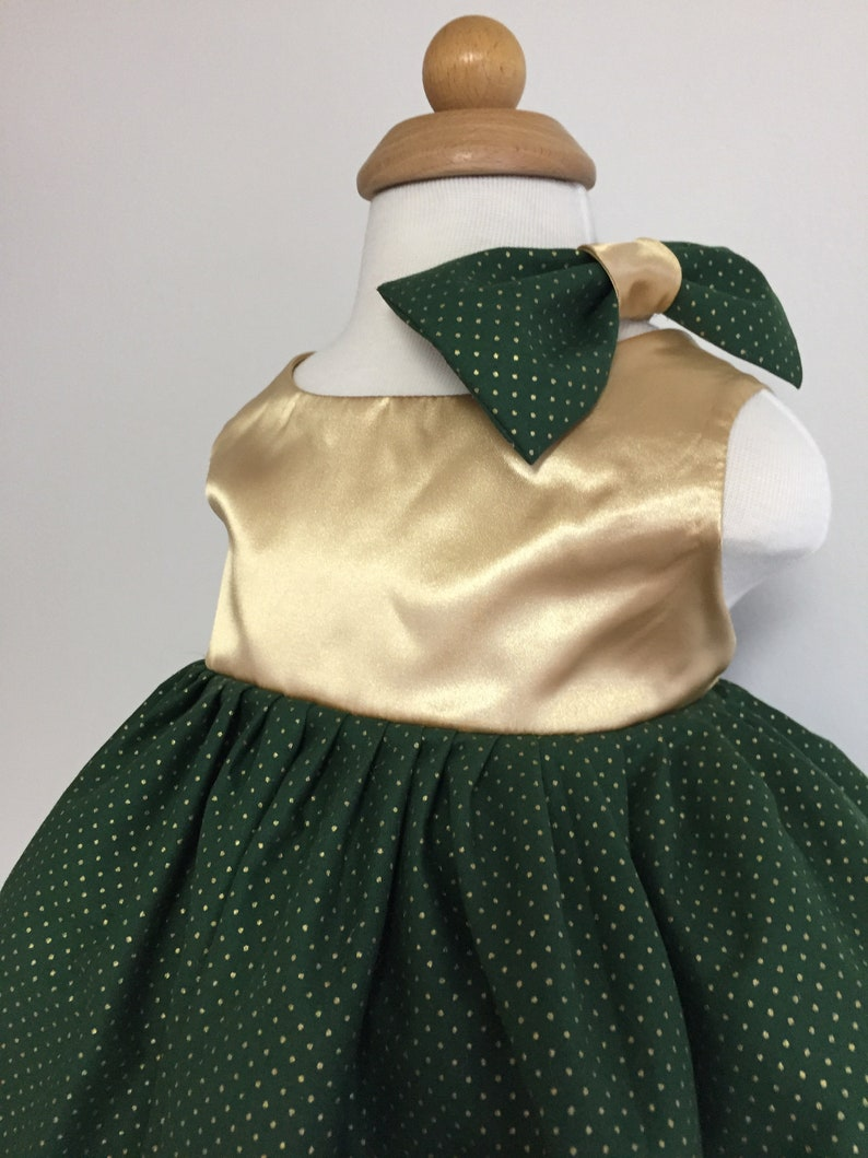 Green And Gold Christmas Toddler Dress Size 4T Christmas Party Dress Photo Shoot