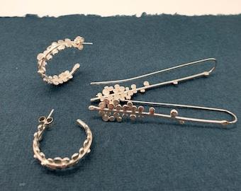 silver grass seed hoop earrings, flower earrings, contemporary design, botanical design