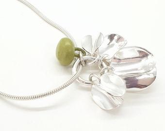 Sterling silver Seedpod pendant; contemporary silver charm pendant; botanical jewellery.