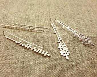 Sterling silver grass seed drop earrings