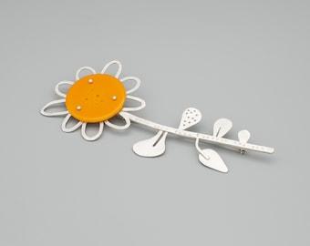 Giant Sunflower Brooch, silver & vintage plastic statement brooch.