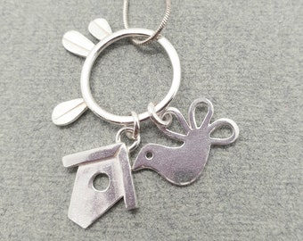 Sterling silver Bird and Bird House pendant