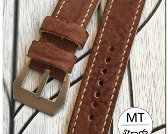 I sell real leather strap 100% Handmade 24 mm Strap Watch