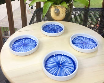Blue Orchid Coaster Set