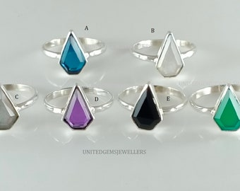 Silver rings Amethyst Quartz 13X8 mm kite Shaped Ring 92.5 Sterling Silver Hand Made Jewelry Gift For Her Jewelry Making Gems