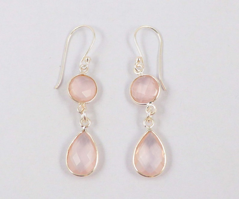 Earrings 1 Pair Natural Rose Quartz 92.5 Sterling Silver 8 mm Round 12X8 mm Pear Earrings Hand Made Jewelry Gift For Her Jewelry Gemstone