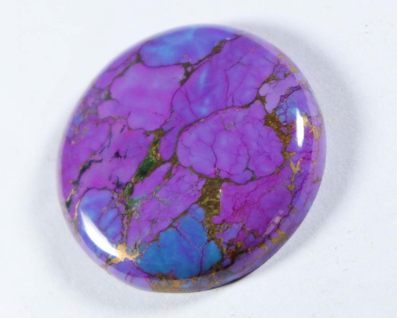 Purple Copper Turquoise Approx 36X36 mm Round Shape Cabochon Smooth Flat Bottom Jewelry Making Loose Gemstones Purple Copper Turquoise
