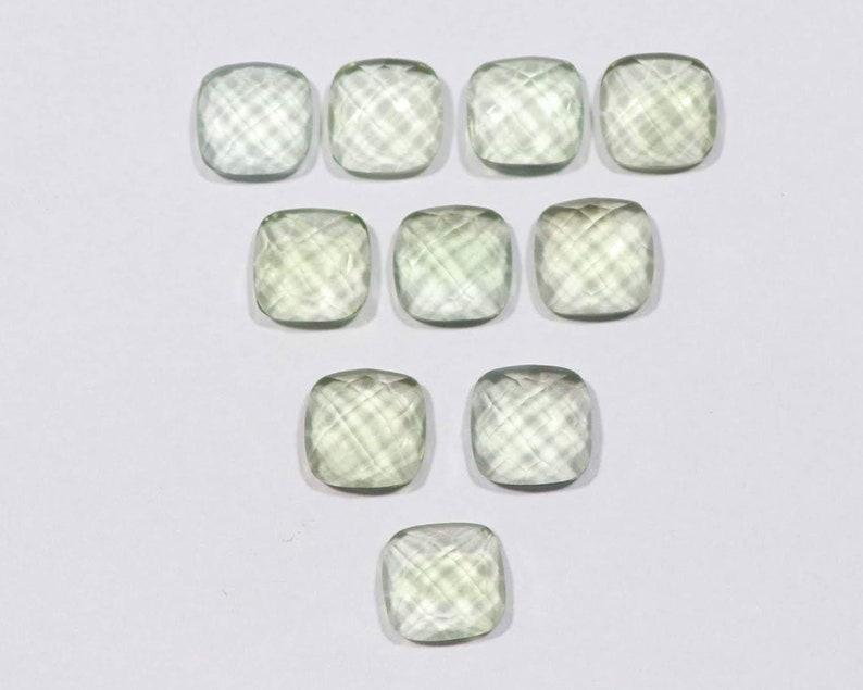 6 mm To 20 mm Green Amethyst Cushion Shape One Side Checker Cut Flat Bottom Jewelry Making Handmade Gemstones Rose Cut Cushion All Sizes