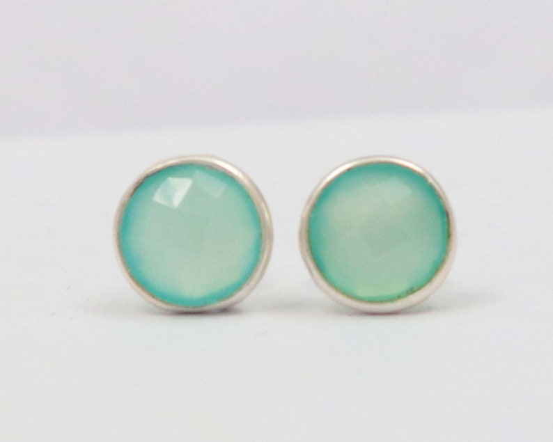 Aqua Chalcedony 92.5 Sterling Silver 1 Pair Stud 12 mm Round Natural Silver Earring Hand Made Jewelry Gift For Her Sterling Silver