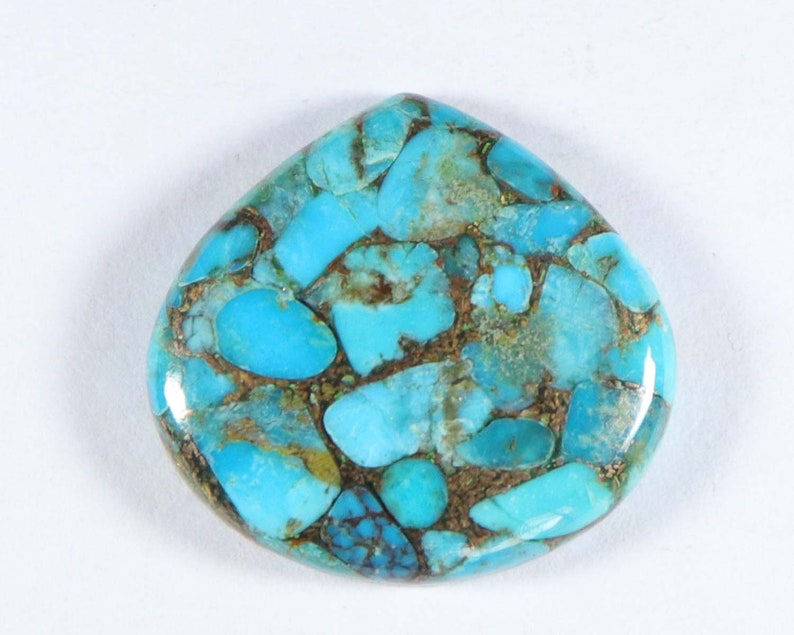 29X27 mm Heart Shape Cabochon Smooth Flat Bottom Jewelry Making Loose Gemstones Sky Copper Turquoise Sky Copper Turquoise Approx