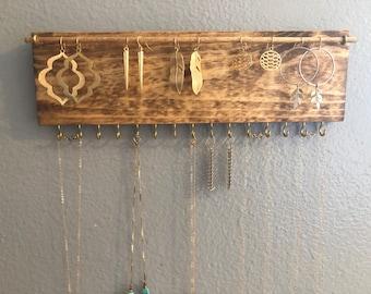 Jewelry Organizer Wall, Earring Holder, Jewelry Organizer, Wood Jewelry  Holder, Earring Holder, Boho Wall, Necklace Storage, Earring Storage