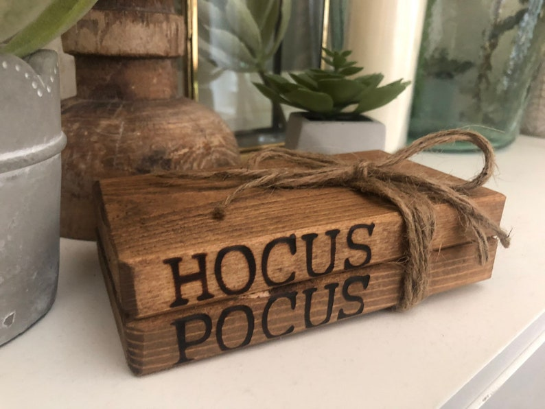 Hocus Pocus Book Stack Rustic Wood Book Stack Halloween image 0