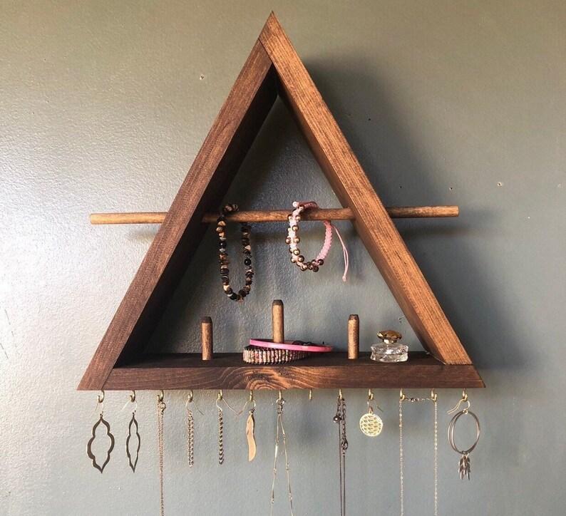 Jewelry Organizer With Shelf Jewelry Storage Wood Shelf image 0
