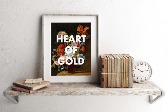 Heart Of Gold Art Print Neil Young Lyrics Harvest Song Title 16x20 Print Still Life Floral Art Typography Print Vintage Style Art