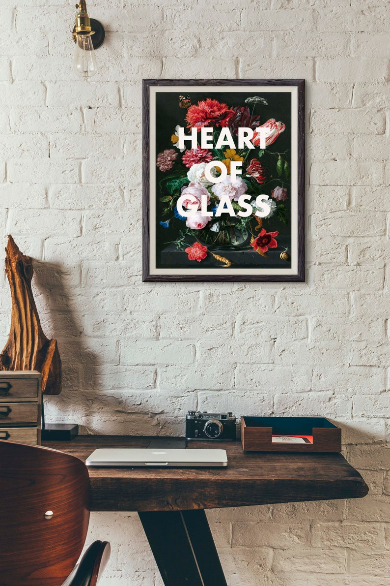 9b070ff517fc BLONDIE Lyrics Print Heart of Glass Poster Song Lyrics