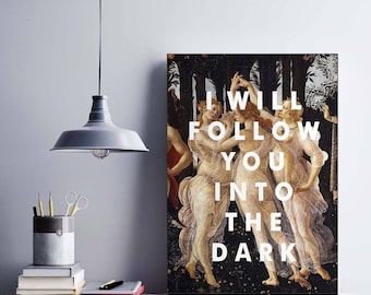 Death Cab For Cutie Song Print, Art poster, Song lyrics, I Will Follow You Into the Dark, Wall art, 8x10, Gift Ideas, Home Decor, Primavera