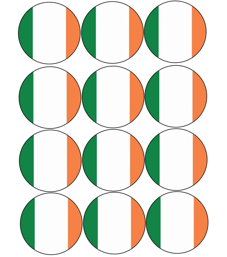 Pre Cut Cupcake Toppers Premium Quality Sugar Icing Sheet 12 x Ireland  Irish Flag Shipped from the UK