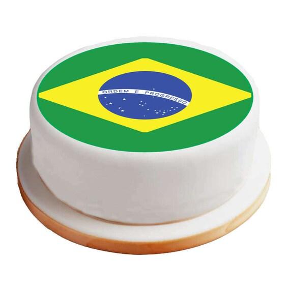 Strange Brazil Brazilian Flag 8 Pre Cut Round Cake Topper Etsy Funny Birthday Cards Online Inifodamsfinfo