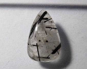 LOVELY! Natural Black Tourmaline Quartz Black Rutilated Quartz Gemstone Rutilated Quartz Cabochon Loose Gemstone for Pendant 21 Cts.D-3020