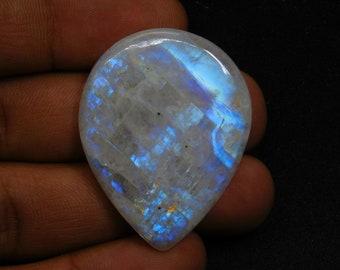 Amazing Blue Flash Rainbow Moonstone Cabochon RM184 11 Cts Fancy Shape 21x12 mm Natural White Rainbow Moonstone Gemstone jewelry Use