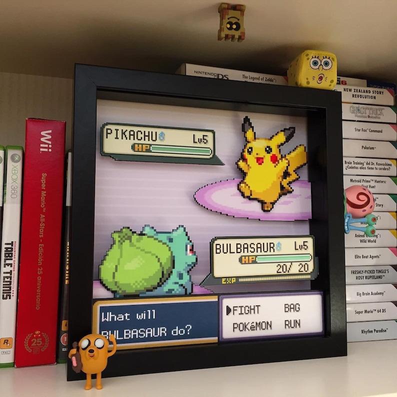 6960ecb1 Pokemon Shadow box with Pikachu and Bulbasaur | Etsy